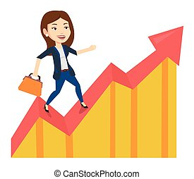 Business woman standing on profit chart. Caucasian...