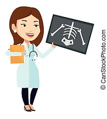 Doctor examining radiograph vector illustration. - Caucasian...