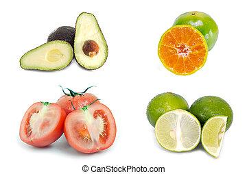 Avocado, orange, tomato and lemon (lime) fruit isolated on...