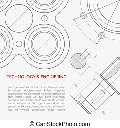 Engineering vector concept with part of machinery technical drawing