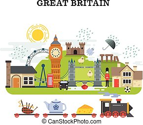 Great britain and london vector traveling concept. Banner...