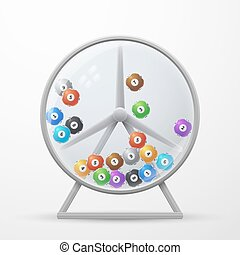 Lotto machine with lottery balls. win money gambling vector illustration