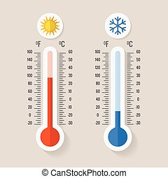 Celsius and fahrenheit meteorology thermometers measuring heat or cold, vector illustration