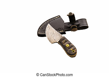 Special hand made craft knife with steel patten and leather...