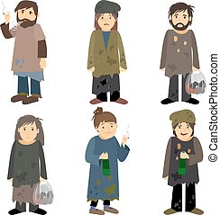 Homeless people icons - Homeless people men and women vector...