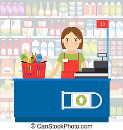 Cashier woman in supermarket - Cashier woman at the cash...