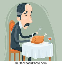 Gaunt Aristocrat Man Eat Roasted Chicken with Wine Character...