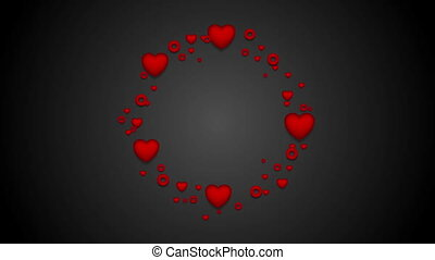 Red hearts St Valentines Day video clip - Rotating circle...
