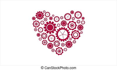Red heart from tech gears video animation - Bright red heart...