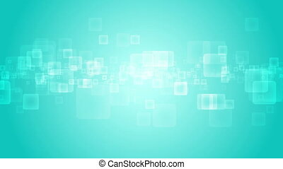 Abstract turquoise geometric squares motion design....