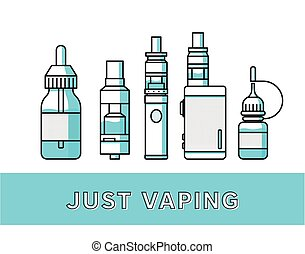 Vaping icons collection - Vaping attributes and devices...