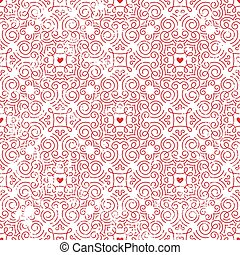Seamless pattern with hearts inred.