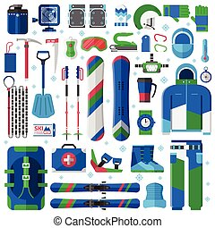 Snowboard and Ski Equipment Set