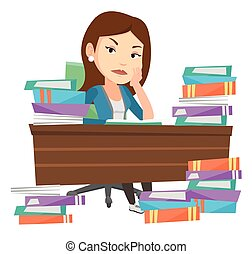 Student sitting at the table with piles of books. - Angry...
