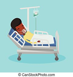 Patient lying in hospital bed with oxygen mask. -...