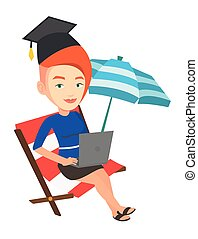 Graduate lying in chaise lounge with laptop. - Graduate...