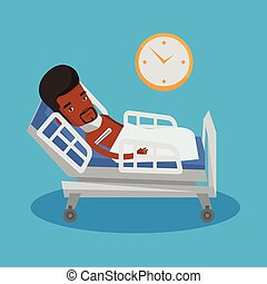 Sick man with thermometer laying in bed. - African-american...