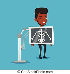 Patient during x ray procedure vector illustration - Young...