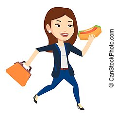 Business woman eating hot dog vector illustration. -...