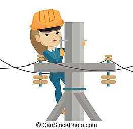 Electrician working on electric power pole. - Female...
