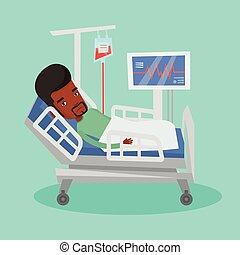 Man lying in hospital bed vector illustration.