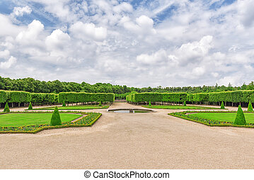 "Grand Trianon gardens is famous French-style gardens ""filled..."