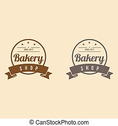 Bakery Logo with Ribbon Vintage Design Vector Template -...