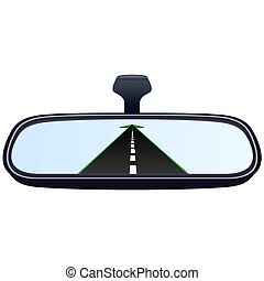 Car mirror and the road-2 - Reflection of the highway in a...