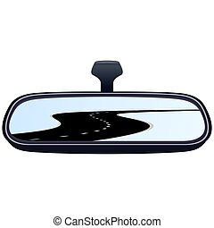 Car mirror and the road-5 - Reflection of the highway in a...
