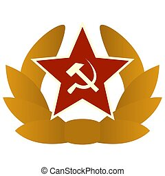 Cockade of Soviet troops - The star with the hammer and...