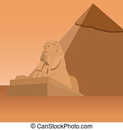 Egypt. Sphinx - Sculpture Sphinx on the background of the...