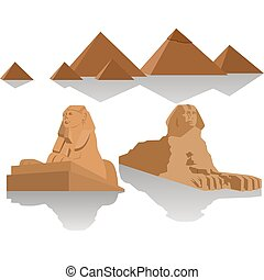 Pyramids of Egypt and the Sphinx - Sculpture Sphinx and the...