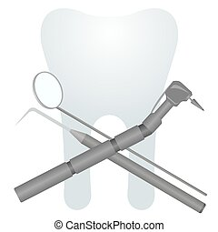 Stomatology - Medical equipment and tools on the background...