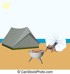 Summer rest - Tent, beach chair, umbrella and a device for...