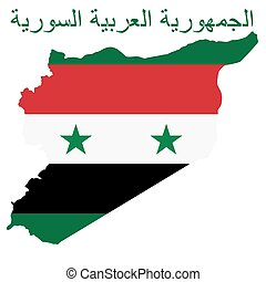 Syrian Arab Republic - Flag on a background map of the...