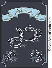 tasse, thé, Bouilloire, enseigne, conception,  café, Ruban