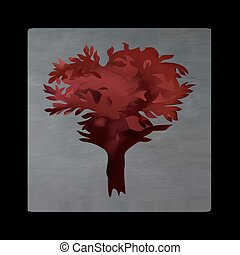 Vintage mystical tree in scarlet colors on black background....