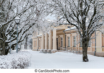 Old palace in winter - manor Renavas in Lithuania