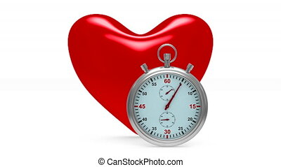 heart and stop watch on white background. Isolated 3D image