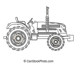 Green Isolated Tractor Outline - A typical modern farmyard...