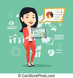 Businesswoman presenting report on tablet computer