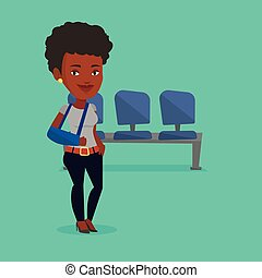 Injured woman with broken arm vector illustration. - An...