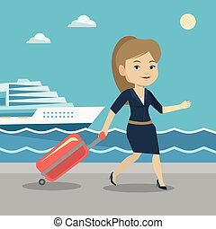 Passenger with suitcase going to shipboard. - Caucasian...