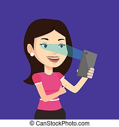 Woman using iris scanner to unlock mobile phone. - Smiling...