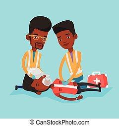 Paramedics doing cardiopulmonary resuscitation. - Team of...