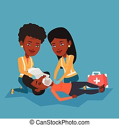 Paramedics doing cardiopulmonary resuscitation. - Team of...