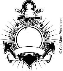 Anchor steering wheel skull - Vector illustration anchor and...