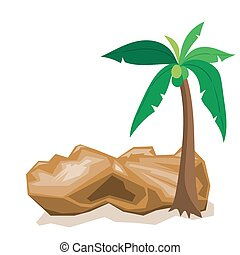 Vector illustration of coconut trees and rocks cartoon EPS10 File.