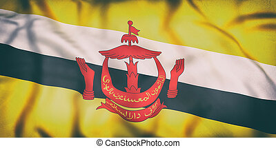 Nation of Brunei flag waving - 3d rendering of an old Nation...