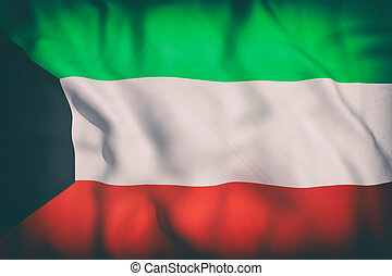 Kuwait flag - 3d rendering of an old Kuwait flag waving